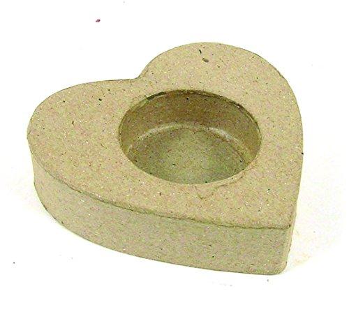 Décopatch AC688O Kerzenhalter herzförmig aus Pappmaché, 8,5 x 8,5 x 2 cm, zum Verzieren, perfekt für Ihre Wohndeko, kartonbraun