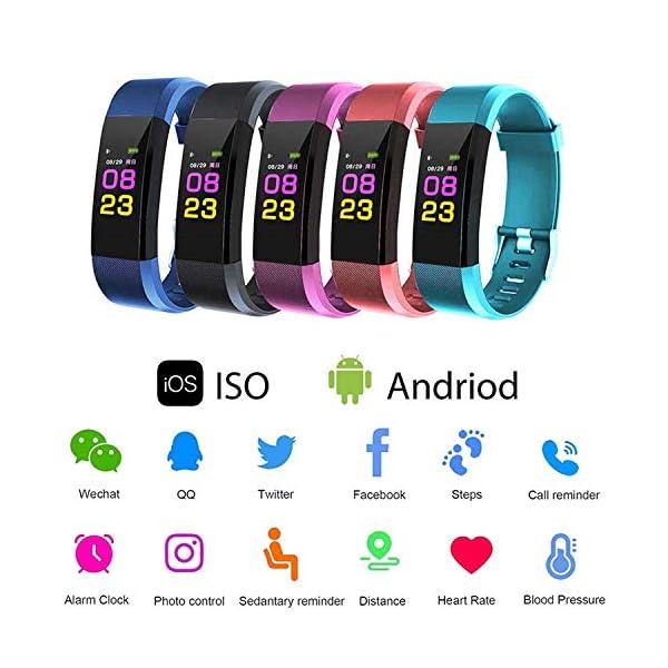 Maju Smartfit Fitness Tracker - Pulsera de actividad para fitness, con corazón, color rojo 3