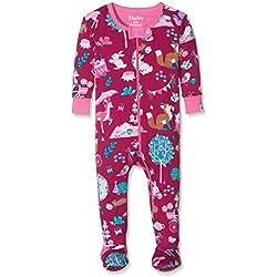 Hatley Baby Girls' 100% Organic Cotton Footed Sleepsuit, Burgundy/Mutlicoloured, 6-9 Months
