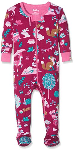 Hatley Baby-Mädchen Schlafstrampler 100% Organic Cotton Footed Sleepsuits, Red (Woodland Tea Party), 12-18 Monate (Mädchen Pjs)