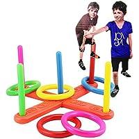 ZHOUBA Hoop Ring Toss Plastic Quoits Garden Game Pool Toy Outdoor Family Kids Fun Set