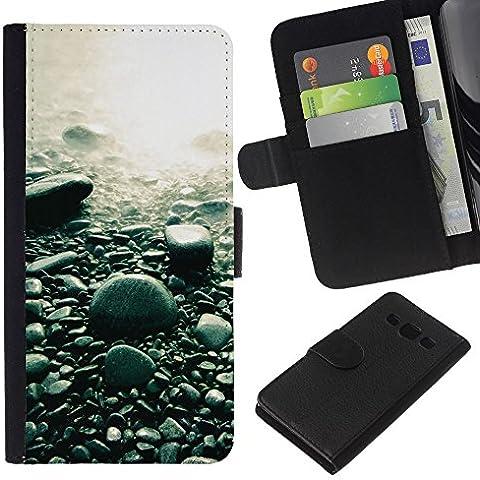 Stuss Case / Funda Carcasa PU de Cuero - Guijarros de la playa - Samsung Galaxy A3