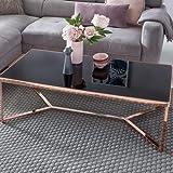 Wohnling Superbe Design : Table ou Plateau en Verre Noir/Cadre cuivré 120 x 60 x 41 cm Table de Salon Effet Miroir Table de canapé Moderne en Verre Table Basse carrée