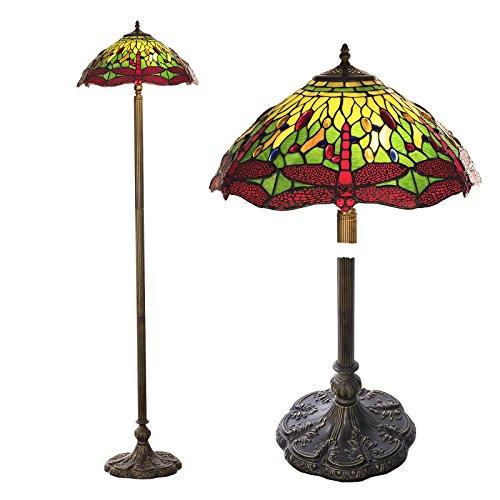 Stehlampe im Tiffany Style, Tiff111, Stehlampe Motiv Libelle , Dekorationslampe, Tiffany Style, Glaslampe, Leuchte ,Tischlampe, Stehleuchte, Stehlampe, Leuchte Lampe