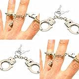 4 X Mini Handschellen Fingerhandschellen Metall mit Schlüssel