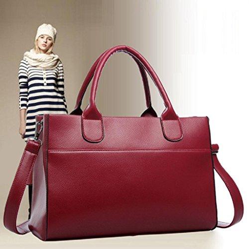 2017 Nuovo Borse donna,Kangrunmy Adatti a donne borsa del cuoio genuino Tracolla Large Tote della cartella Rosso