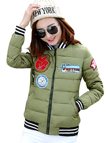 Bigood Femme Epaissir Doudoune Manteau Courte Avec Motif Parka Veste Manches Longue Vert