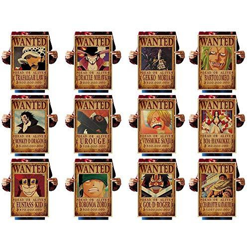 Skisneostype One Piece Wanted Posters Affiche de Papier Kraft Rétro Luffy Choba 51 cm × 35,5 cm, Nouvelle édition(12PCS-2)