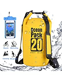 DINOKA 20L/30L bolsa seca impermeable, Bolsas estancas con caja de teléfono impermeable gratis,dry bag wateroof para rafting, kayak navegación senderismo, esquí, buceo, pesca, escalada, camping (Amarillo, 20L)