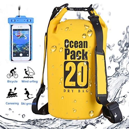 DINOKA Dry Bag, Wasserdicht Taschen mit Handy Dry Tasche und Lang Verstellbarer Schultergurt für Boot und Kajak, Angeln, Rafting, Schwimmen, Camping und Snowboarden 20L/30L (Yellow, 20L)