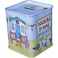 BEACH HUTS - BESIDE THE SEA - Emma Ball Colourful MONEY BOX / PIGGY BANK / MONEY BANK - 9cm