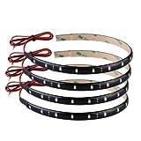 4 X Bande Eclairage Flexible Lampe 15 LED 30cm 12V Etanche Vert Voiture de Noël