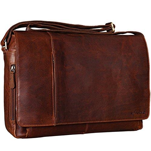 STILORD 'Elias' Ledertasche Herren Umhängetasche Unitasche Laptoptasche 15.6 Zoll Aktentasche Bürotasche Büffel Leder, Farbe:Cognac - Dunkelbraun