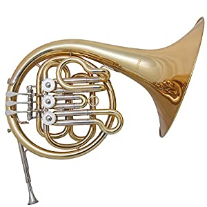 Mirage Single French Horn Outfit, Bb Tuned With Deluxe Carry Case - Gold Lacquered Finish