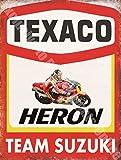 RKO Texaco Heron Team Suzuki Motocycle Garage Métal/Panneau Mural Métalique - 15 x 20 cm