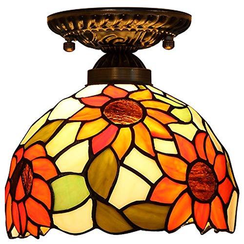 XYQS Tiffany Stil Europäischen Retro Deckenleuchte Farbe Glas Runde Sonnenblumenmuster Geeignet für Wohnzimmer Schlafzimmer Restaurant Bar Gang Korridor Badezimmer Café (watt : 110V)