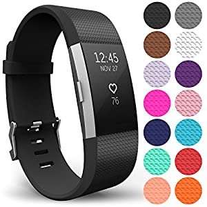Yousave Accessories FitBit Charge 2 Strap Band - Replacement Silicone Sport Wristband for the FitBit Charge 2 – One to Ten Packs and 15 Colours Available (Large - Single Pack, Black)