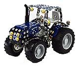 Tronico 10056 - Metallbaukasten Traktor New Holland T4 mit Kippanhänger, Mini Serie, Maßstab 1:32, 744-teilig, blau