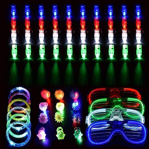 Spielwaren Party Zubehör Mitgebsel für Kinder Kindergeburtstag Gastgeschenke - 40 LED Fingerlicht Fingerring Leuchtringe, 12 LED Blinkend Ringe 6 Armbändern und 4 LED Brille ()