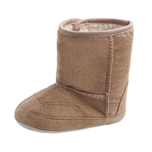Phenovo Infant Baby Boys Girls Winter Warm Boots Slippers Soft Sole Crib Shoes Prewalker - khaki, 12-18 Months