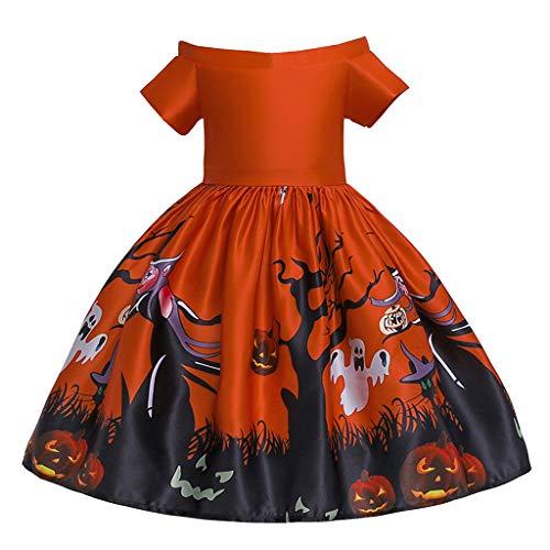 Romantic Halloween Kostüme Kinder Mädchen Kleid Baby Kurzarm Prinzessinen Kleider Spitze Kleid Mädchen Festlich Tutu Kleid Mädchen Kinder Formal Kostüm Falten Partykleid Kürbiskleid Cosplaykostüm (Red Tutu Kostüm Idee)