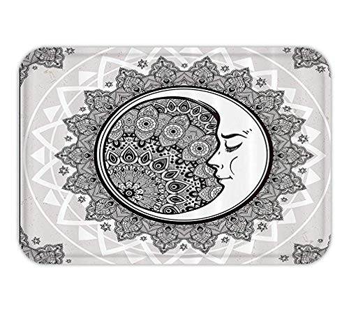 BagsPillow Doormat Mystic House Decor Ornate Crescent Moon with Starand Asian Eastern Spiritual Graphic Fabric Bathroom Set with HookLong Beige White Black.jpg