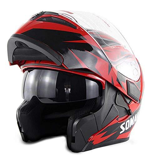GUOGUO Casco Integrale Moto DOT Street Legal +2 visori con Visiera Trasparente e Scudo Affumicato Gratuito - Interfono Casco con Microfono,Red,L