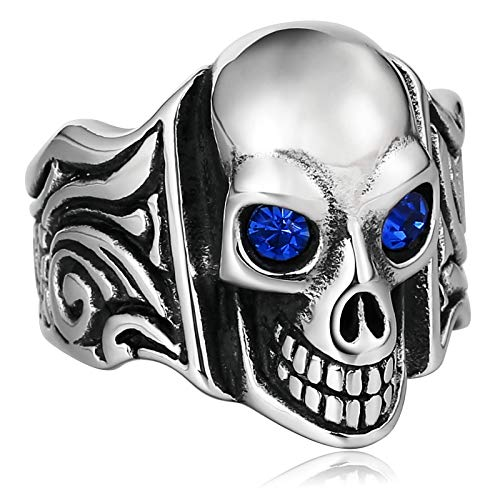 Aooaz anello fascia anelli fidanzati skull skeleton con cz anello vintage anelli acciaio inossidabile blu dimensione dell'italia 25