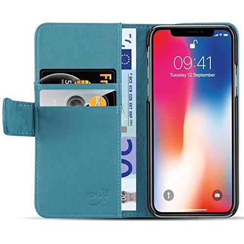 JAMMYLIZARD Lederhülle für iPhone X/Xs | Ledertasche [ Classic Wallet Tasche Series ] Leder Book Case Hülle Flip Cover Schutzhülle mit Kartenfach, Azurblau