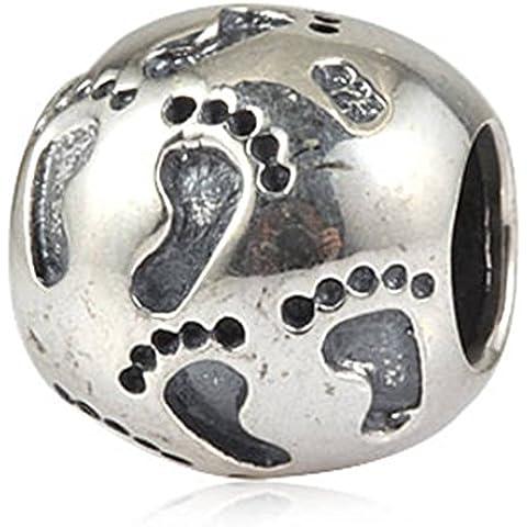 Family Soulbead impronte Baby First-Ciondolo in argento Sterling 925 con perle con stampe a piede, per marca Compatibile con