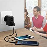 Travel Adaptor PISEN US/UK/EU Universal USB Charger Plug 20W 4-Port Wall Charger with Interchangeable Adapter for iPhone iPad Android Samsung Phones, Tablets and Kindle (Black)