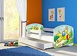 Clamaro 'Fantasia Weiß' 160 x 80 Kinderbett Set inkl. Matratze, Lattenrost und mit Bettkasten Schublade, mit verstellbarem Rausfallschutz und Kantenschutzleisten, Design: 29 Flugzeug