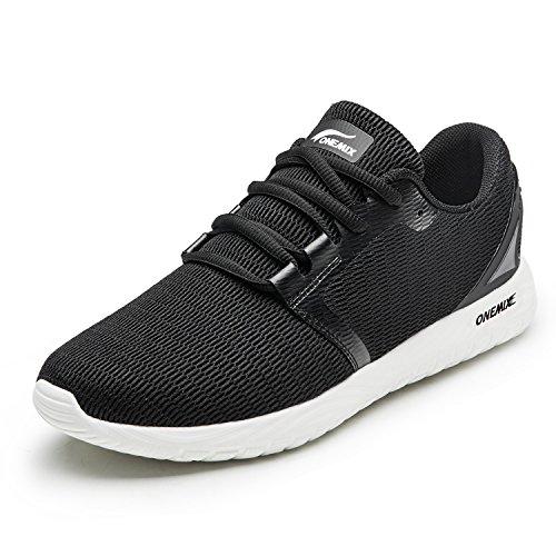 ONEMIX Zapatillas de Deporte para Hombre Calzado Deportivo para Correr Zapatillas Ligeras Transpirables Negro 40 EU
