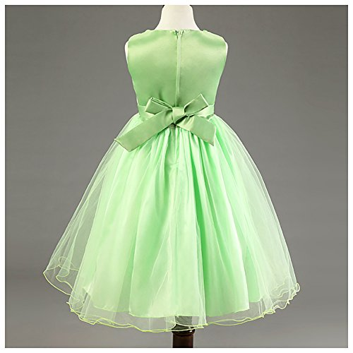 Free Fisher Mädchen Pailletten Kleid Blumenkleid, Grün, Gr.134/140(Herstellergröße: 140cm) - 2