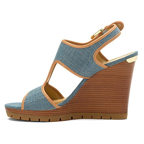 Michael Michael Kors Gillian Wedge Toile Talons Compensés Washed Denim