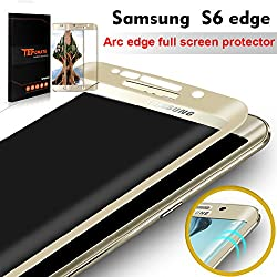 """TEFOMATE Galaxy S6 Edge Protection écran, Verre Trempé Protecteur Tempered Glass Screen Protector pour Samsung Galaxy S6 Edge 5.1"""" [Curved 3D] [Gold]"""