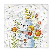 DIMAA Cartoon Bandana, Teddy Bear Toy in Garden, Unisex Head and Neck Tie 100x100cm