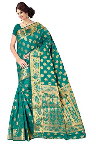Boutique On Palm Bollywood Style New Generation Concept Party Wear Saree Banarasi Silk Sarees (Rama Jacquard Vadi Velo Pallu Mango Butta)