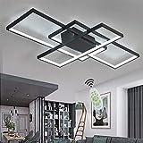 Wohnzimmerlampe LED Deckenleuchte Dimmbar Deckenlampe mit Fernbedienung, 80W Schlafzimmerlampe Modern Decke Aluminium Pendelleuchte Design Lampen Esszimmerlampe Bürolampe Küchelampe (Weiß, 110×65CM)