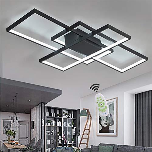Wohnzimmerlampe LED Deckenleuchte Dimmbar Deckenlampe mit Fernbedienung, 80W Schlafzimmerlampe Modern Decke Aluminium Pendelleuchte Design Lampen Esszimmerlampe Bürolampe Küchelampe (Schwarz, 90×50CM) - Light-schwarz-kristall-kronleuchter