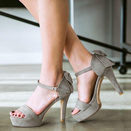 COOLCEPT Damen Mode Knochelriemchen Sandalen Open Toe Plateau Blockabsatz Schuhe Mit Bogen Grau