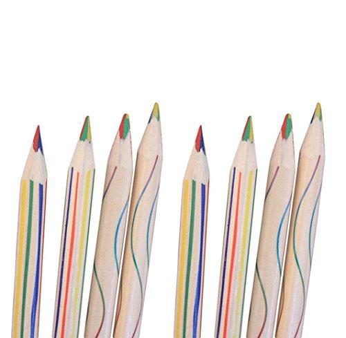 squarex 8pcs oder in der 10Stück Regenbogen Farbe Bleistift 4in 1Buntstiften, für Zeichnung...