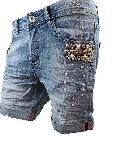 Damen Denim Krempel Boyfriend baggy Stretch Shorts Perlen Strass Mid Blue