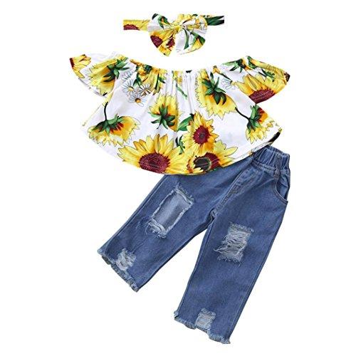 25a8efc3a7 3pcs Neonata Off Spalla Camicia Stampa Girasole T-Shirt Cime + Buco Denim  Pantaloni +