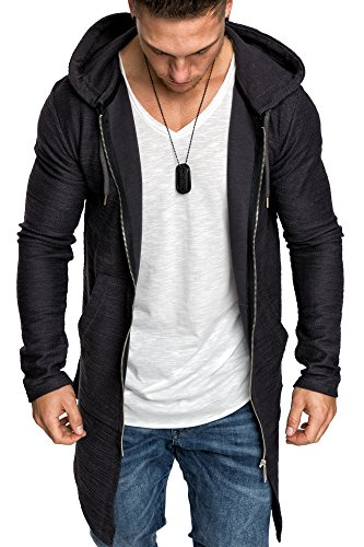 Amaci&Sons Herren Oversize Jacke Kapuzenpullover Sweatshirt Hoodie Sweatjacke Pullover 4010 Anthrazit M