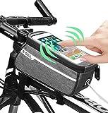 Fahrradtasche Rahmentasche Wasserdicht, Oberrohrtasche Fahrrad Handy Tasche Vorne Sensitive Touch-Screen Wasserdicht Groß (Passend bis zu 6,0 Zoll)