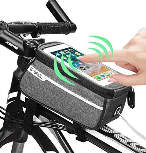 Fahrradtasche Rahmentasche Wasserdicht, Oberrohrtasche Fahrrad Handy Tasche Vorne Sensitive Touch-Screen Wasserdicht Groß (Passend bis zu 6,0 Zoll) (Tasche Bank)