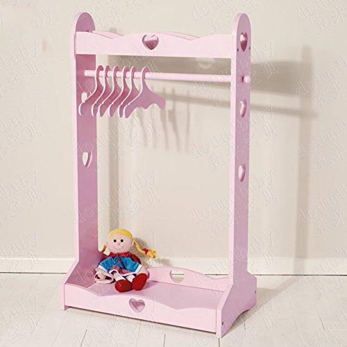 D&L Kinder Massivholz Garderobenständer,Baby Boden stehend Mehrzweckraum Kleiderbügel Regale Für Kind Schlafzimmer Wohnzimmer Hut-mantel Jacke Schal Spielball-Rosa 108x63cm