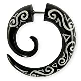 Fly Style® - 1 Stück - Fake Expander Spirale - Maori Tribal - Horn oder Knochen, Materialart:Horn (schwarz)