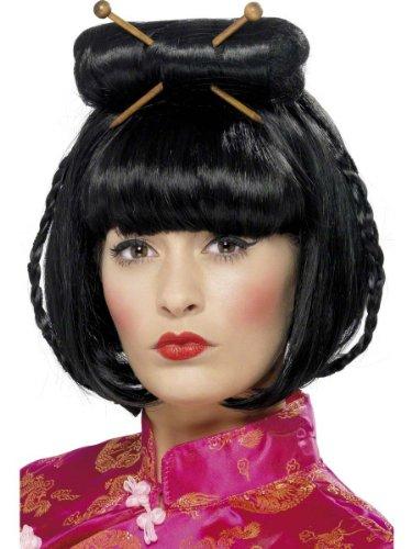 Smiffys Karneval Zubehör Perücke Asiatin Geisha Chinesin Japanerin Kostüm (Lustige Japanische Kostüm)